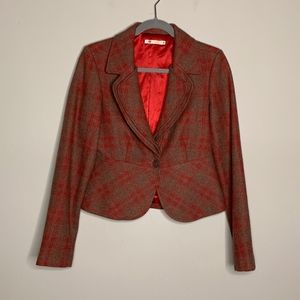 Tulle l Wool Blend Red Plaid Blazer